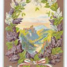 Best Wishes Embossed Lilacs Gilt Vintage Patriotic Postcard