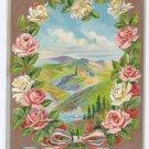 Best Wishes Embossed Roses Gilt Vintage Patriotic Postcard