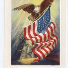 Eagle American Flag Vintage Patriotic Poem Postcard