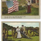 2 Vintage Patriotic Romance Postcards Soldier Flag Good Bye Sweetheart
