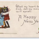 Black Americana Children Kissing Vintage Bergman new Year Postcard 1913