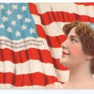 U.S. Flag Lady Vintage Patriotic Postcard Star Spangled Banner