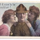 Girls and WWI Soldier 1918 Patriotic Romantic Postcard
