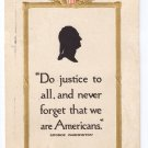 George Washington Silhouette Volland Vintage Patriotic Postcard