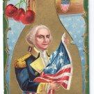 George Washington Hatchet Flag Embossed Vintage Patriotic Postcard