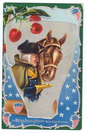 George Washington Horse Embossed Vintage Patriotic Postcard