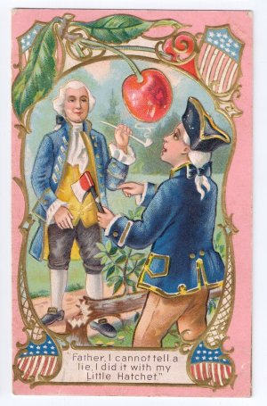 George Washington Cherry Tree Embossed Vintage Patriotic Postcard