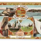 Best Wishes Gilt Multiview Quebec Canada c 1910 Vintage Postcard NM