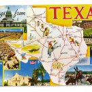 Greetings from Texas Map Postcard TX Multiview Chrome