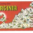 Greetings from Virginia Map Postcard VA Dexter Press Chrome