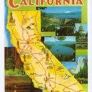 Greetings from California Map Postcard CA Roberts Chrome