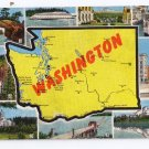 Greetings from Washington Map Postcard WA Kropp Linen