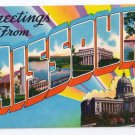 Greetings from Missouri MO Large Letter Postcard Linen