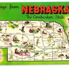 Greetings from Nebraska Map Postcard NE Chrome