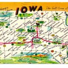 Greetings from Iowa Map Postcard IA DunlopChrome