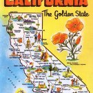 Greetings from California Map Postcard CA Dexter Chrome