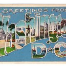 Greetings from Washington DC Large Letter Postcard 1938 Linen