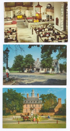 Williamsburg VA Lot of 3 Tavern Church Palace Vintage Chrome postcards