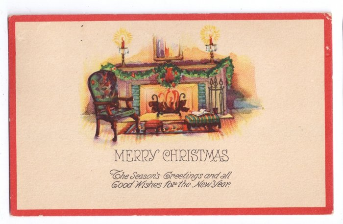 Arts and Crafts Style Vintage Christmas Postcard Fireplace