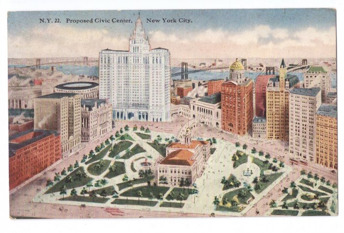 Proposed Civic Center New York Vintage Tammen Postcard NY