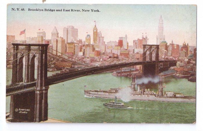 Brooklyn Bridge East River New York Vintage Tammen Postcard NY