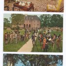 Williamsburg VA 3 Vintage postcards Bruton Church; Militia; Craft House