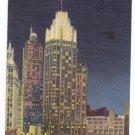 Tribune Tower by night Chicago IL Curteich Linen