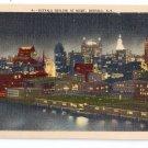 Buffalo NY Skyline at Night Linen Metrocraft