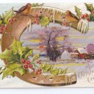 Horseshoe Cottage Scene Embossed Nash Christmas Postcard 1911