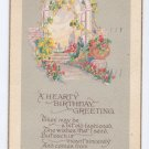 Birthday Floral Arbor Arts & Crafts Poem Postcard 1927