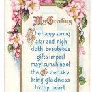 Easter Arts & Crafts Poem Embossed Postcard Pink Dogwood