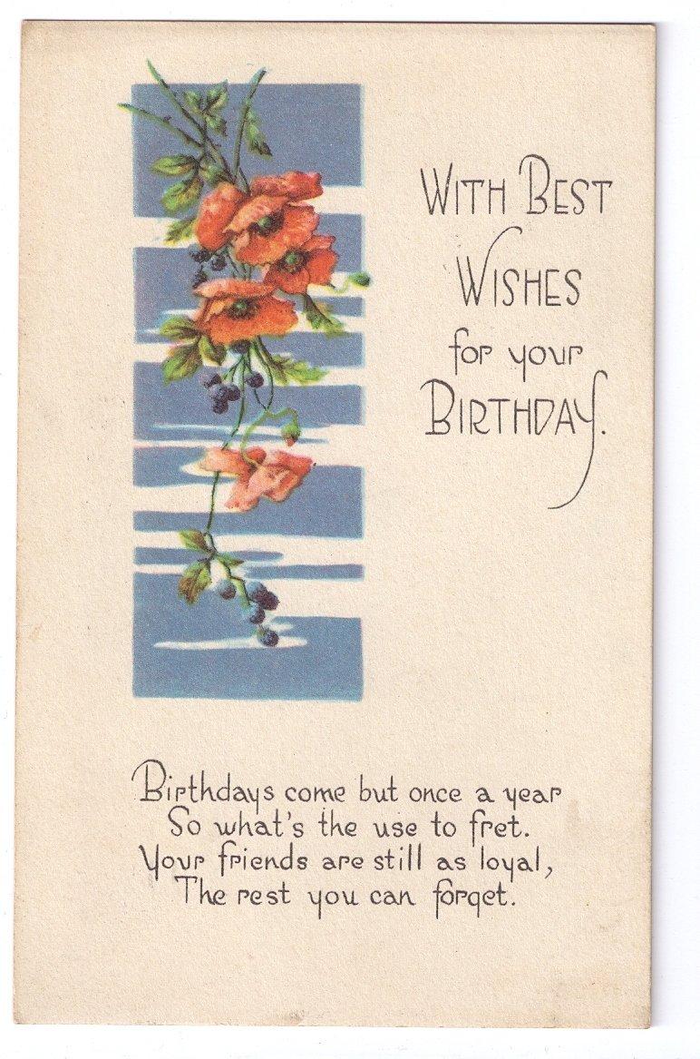 Birthday Poppies Arts & Crafts Poem Postcard 1918