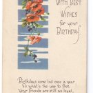 Birthday Poppies Arts & Crafts Poem Postcard 1918