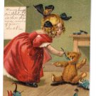 3 M. Greiner Girl feeding Teddy Bear Unsigned Postcards 1907