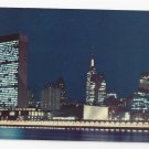 NY United Nations New York City Skyline Night 1960s Nester's Postcard K-101