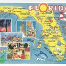 Florida Map Disneyworld Mickey Mouse Space Shuttle 1993 Postcard 4 X 6