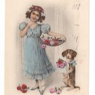Birthday Girl Dog Roses Hand Colored Litho 1913 Postcard