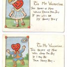 Valentine Postcards (2) Little Boy & Girl Heart Shaped Heads Rose Co. 1910