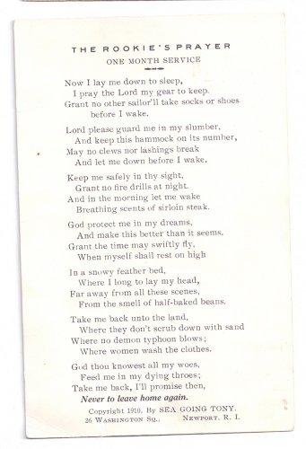 WWI Navy Poem Postcard Rookie's Prayer Sea Going Tony 1910