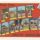 Fort Jackson SC Large Letter Greetings 1940s Linen Postcard