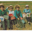 Amish Postcard Mennonite Lancaster PA Children School Boys Traditional Clothing Lunch Pails
