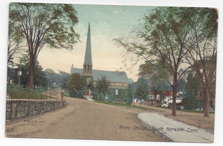 South norwalk ct trinity church 1909 valentine sonspostcard for Craft store norwalk ct