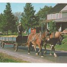 Amish Pennsylvania Dutch Man Horse Drawn Wagon w Corn Vintage Postcard