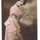 Glamour Postcard Beautiful Woman c. 1915 Tinted Flowers Pretty Lady Netherlands GL Co