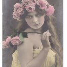 Glamour Postcard Pretty Girl Tinted Real Photo Roses German RPPC