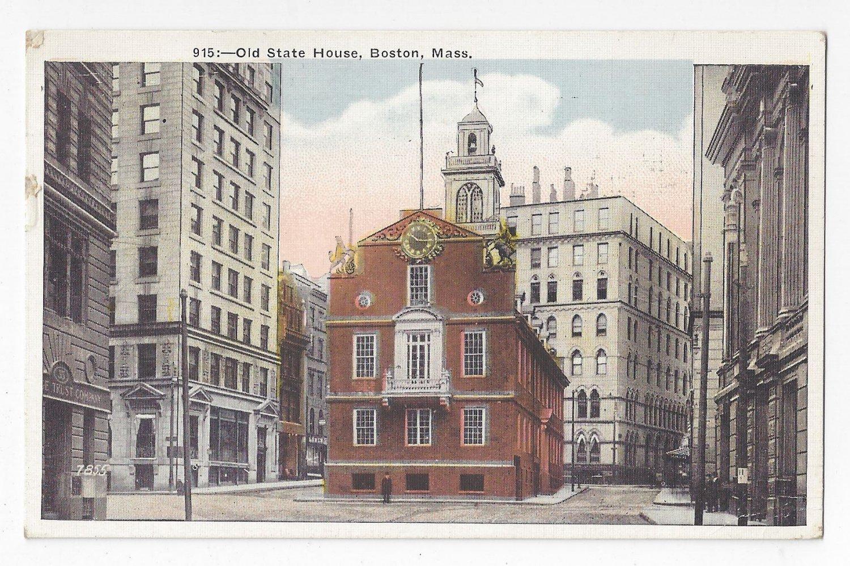 Boston MA Old State House Vintage 1922 Postcard