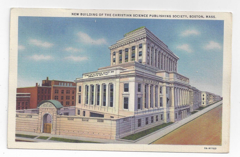 Boston MA Christian Science Publishing Building Vintage 1938 Postcard