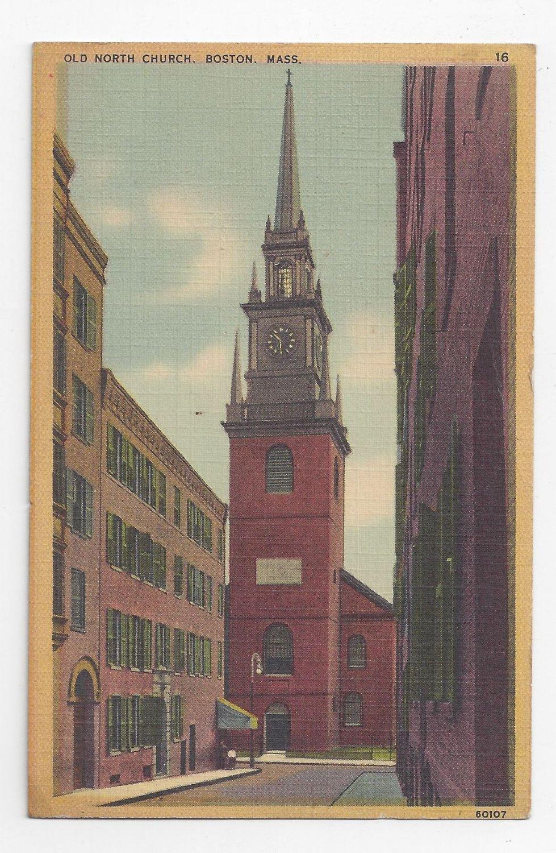 Boston MA Old North Church Vintage 1942 Linen Postcard