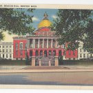 Boston MA State House Beacon Hill Vintage 1938 Linen Postcard
