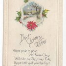Christmas Poem Postcard Embossed Winter scene Vintage